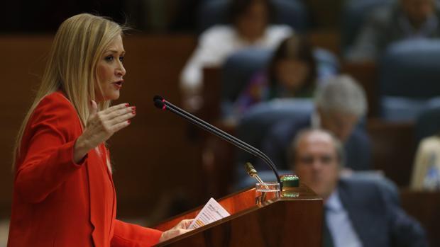 Cristina Cifuentes, durante el debate del estado de la región de 2016