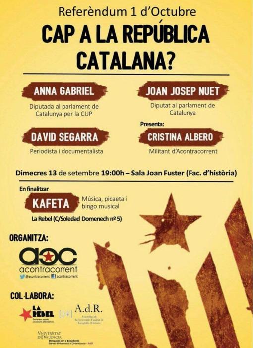 Imagen del cartel del acto celebrado en la Universidad de Valencia