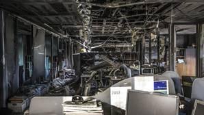 Imagen del interior de Ciudad de la Justicia tras el incendio