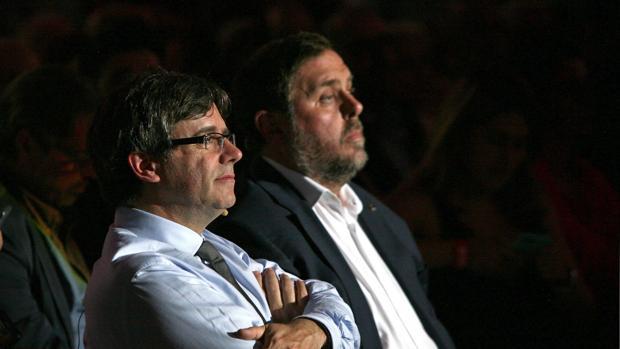 Puigdemont y Junqueras, ayer en Tarragona