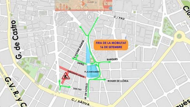 Imagen de los cortes de tráfico para el sábado 16