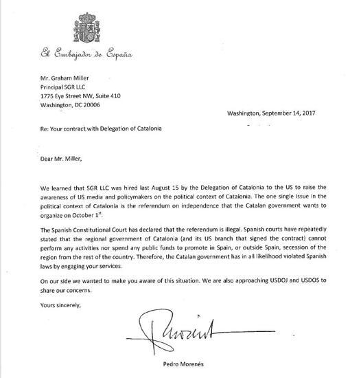 Carta de la Embajada de España en Washington enviada al despacho que hace lobby a favor del 1-O