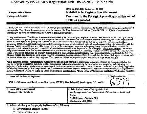 Registro del contrato de lobby con el «Government of Catalonia» entregado en el Departamento de Justicia de EE.UU.