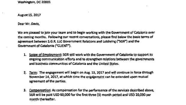 Condiciones del contrato firmado en agostro entre la delegación de Generalitat en EE.UU. y el lobista