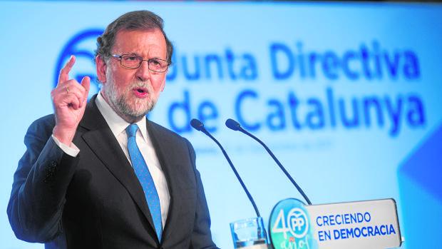 El presidente Rajoy, el viernes pasado en Barcelona en un acto del PP
