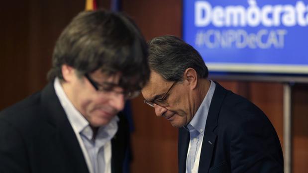 Artur Mas y Carles Puigdemont, en un reciente acto de su partido, el PDECat -la antigua Convergencia-