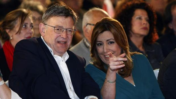 Susana Díaz junto a Ximo Puig durante el mitin celebrado en Elche