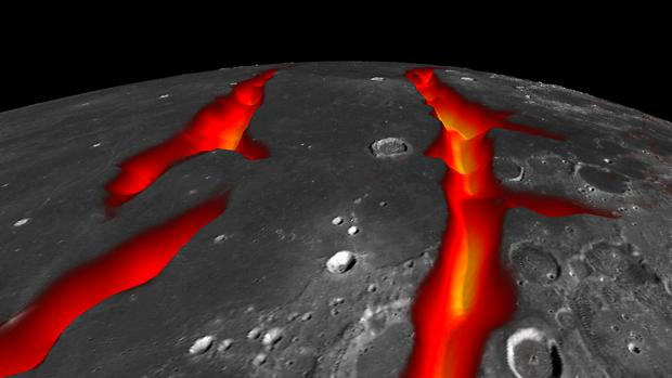 Lava que ahora está bajo la superficie de las oscuras llanuras volcánicas de la Luna