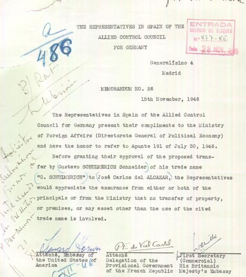 Documento Consejo Aliado autorizando la venta de la marca G. Schulmerich
