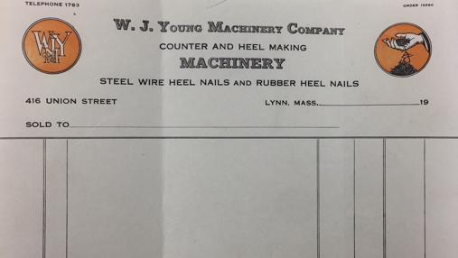 Factura de la fábrica de maquinas de calzado W.J. Young en Lynn, Mass. USA