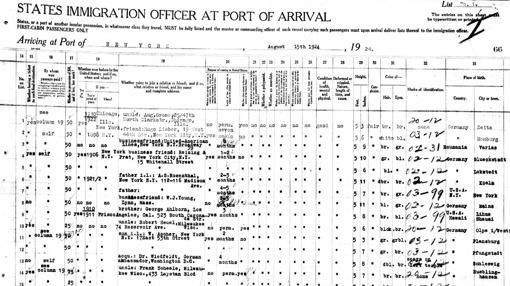 Documento Inmigración americano. Viaje a la fabrica W.J.Young en Lynn