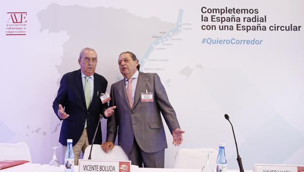 Imagen de Vicente Boluda y Federico Félix en un acto de apoyo al Corredor Mediterráneo