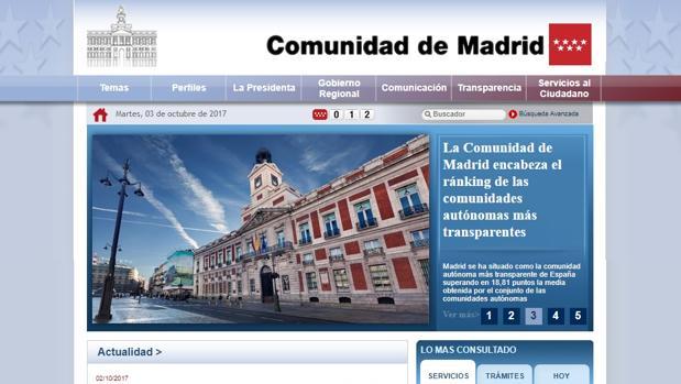 Captura de la web de la Conunidad de Madrid