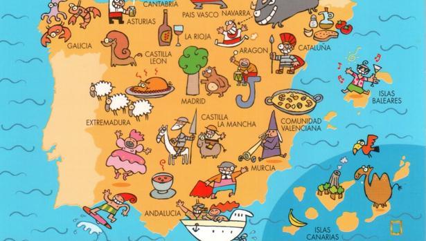 Un mapa sobre tópicos turísticos de España