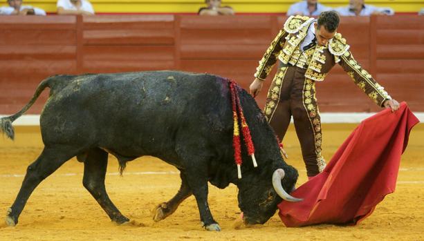 Pepe Moral toreó extraordinariamente bien con la izquierda a «Jarretero»