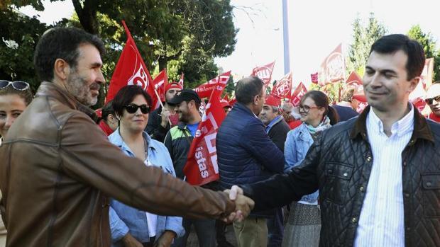 Juan Díaz Villoslada y Gonzalo Caballero durante una movilización
