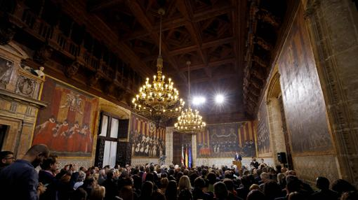 Vista general del acto celebrado en el Palau de la Generalitat