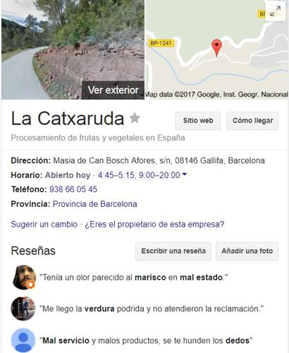 Comentarios y críticas de usuarios de Google sobre La Catxaruda