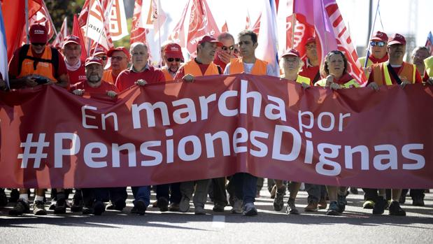 Marcha sindical de pensionistas, el pasado lunes en valladolid