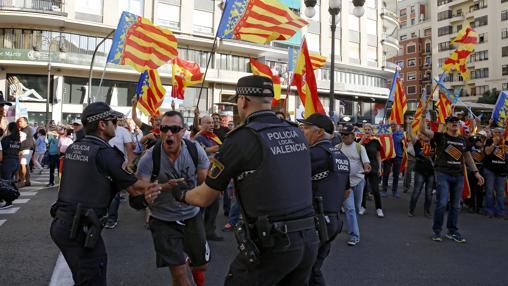 Imagen de los altercados registrados en Valencia