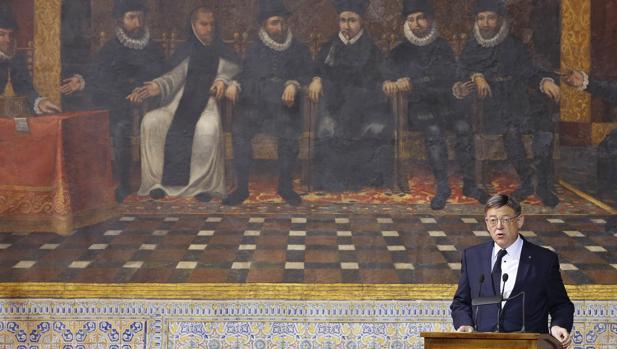 Imagen de Ximo Puig tomada este lunes durante su discurso