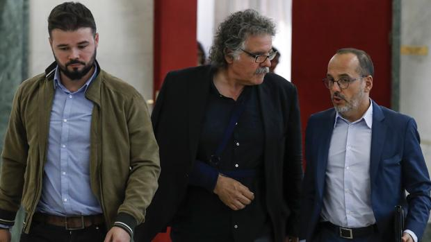 Gabriel Rufián, Joan Tardà y Carles Campuzano