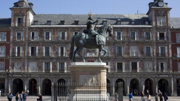 La estatua de Felipe III, en la Plaza Mayor de Madrid, qe será declarada Bien de Interés Cultural