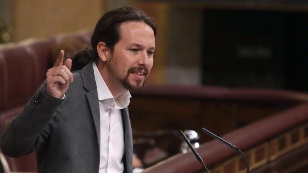 Pablo Iglesias, durante su intervención de hoy en el Congreso