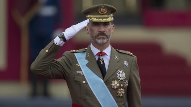 Don Felipe, en el desfile militar de la Fiesta Nacional celebrado en 2016