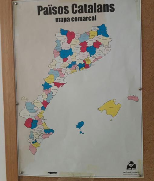 Detalle del mapa «comarcal» que une Cataluña a la Comunidad Valenciana y Baleares