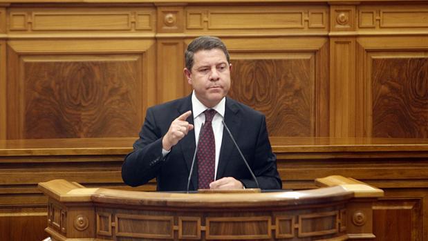 El presidente Emiliano García-Page, durante el Debate del Estado de la Región