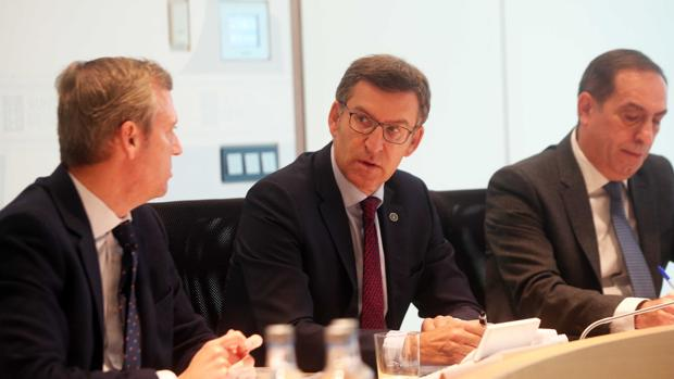 El presidente de la Xunta, Alberto Núñez Feijóo, en la reunión del Consello