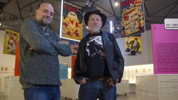 Antoni Guiral y Frank Miller, el jueves, en el Museo ABC