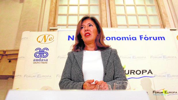 La conselleira de Medio Ambiente, Beatriz Mato, ayer en un desayuno organizado por «Fórum Europa»