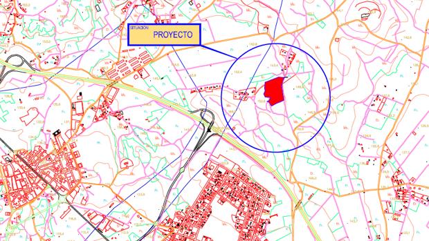 Imagen del mapa con el lugar en el que se situará la planta de compostaje