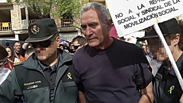 El dirigente del SAT y diputado Diego Cañamero, durante su detención