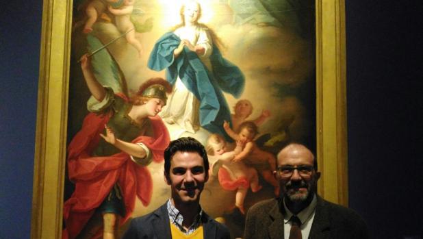 José Ignacio Casar y Pablo González Tornel, junto a a una de las obras