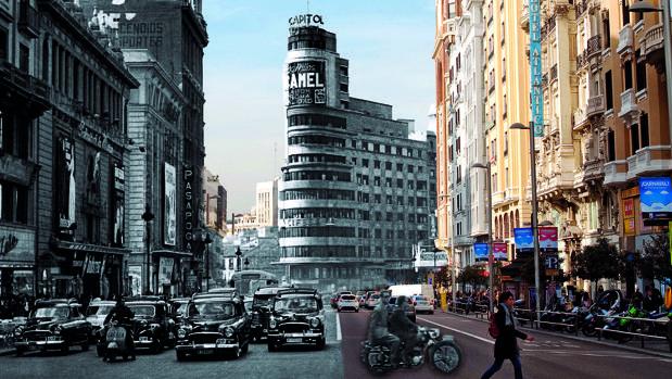 Montaje de la Gran Vía, antes y después