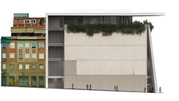 Fotomontaje que muestra cómo quedará el Museo Ambasz una vez reconstruido el actual edificio