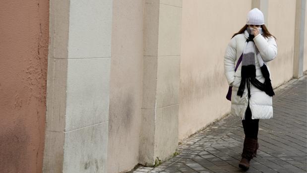 Una mujer camina fuertemente abrigada por una calle de Madrid