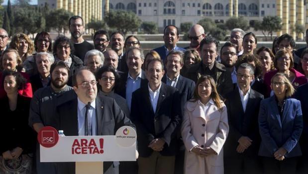 Iceta, en un reciente acto de precampaña en Barcelona