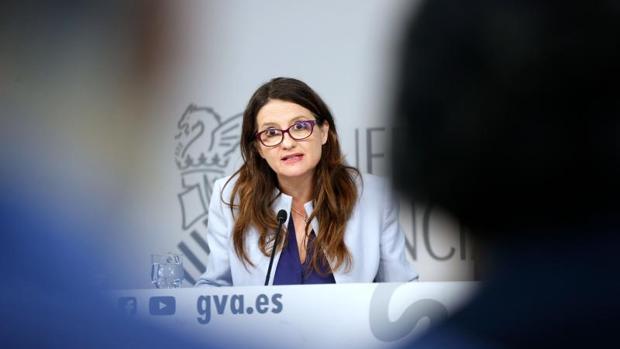 Mónica Oltra, durante su rueda de prensa del Consell, este martes