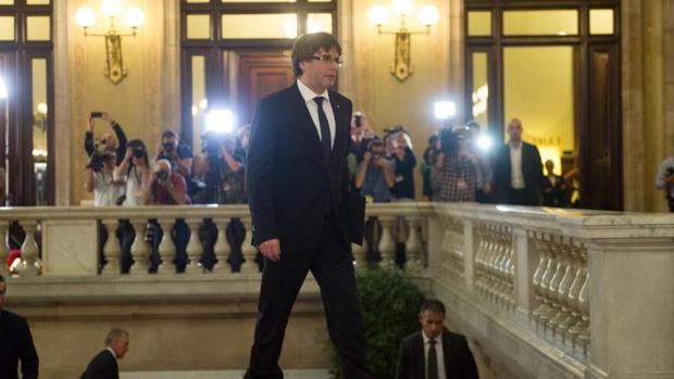 Puigdemont, en el Parlamento de Cataluña, en una de las sesiones del pasado mes de octubre