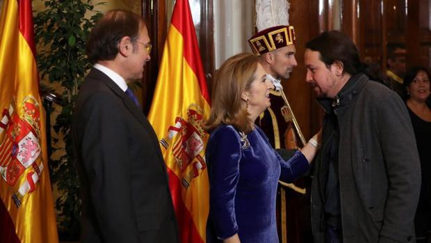 Ana Pastor y Pío García Escudero reciben este miércoles a Iglesias en el Congreso durante el aniversario de la Constitución