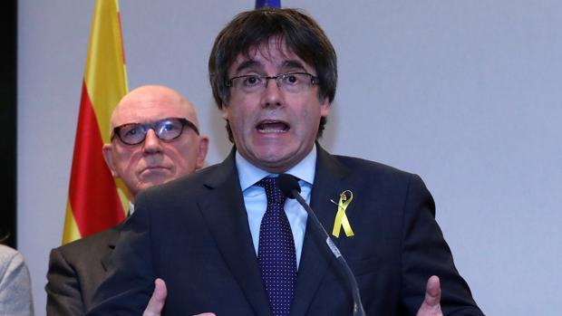 El expresidente de la Generalitat, Carles Puigdemont, este miércoles en Bruselas