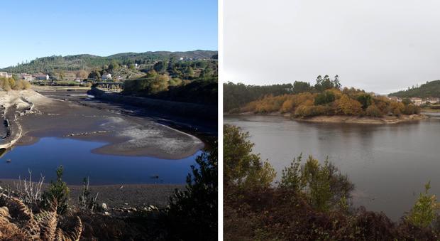 El embalse de Eiras, antes y después del paso del temporal Ana por la Comunidad gallega