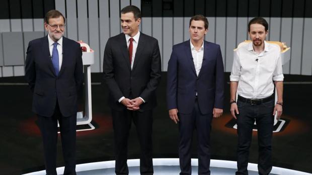 Rajoy, Sánchez, Rivera e Iglesias, durante un debate político de cara a las elecciones generales de 2016