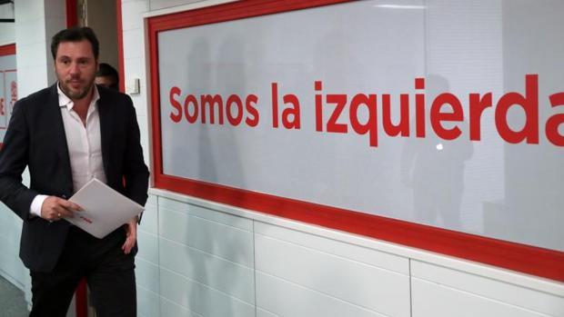 El portavoz del PSOE, Óscar Puente, tras la Ejecutiva de hoy