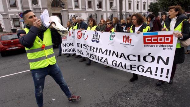 Manifestación de los funcionarios de Justicia en La Coruña