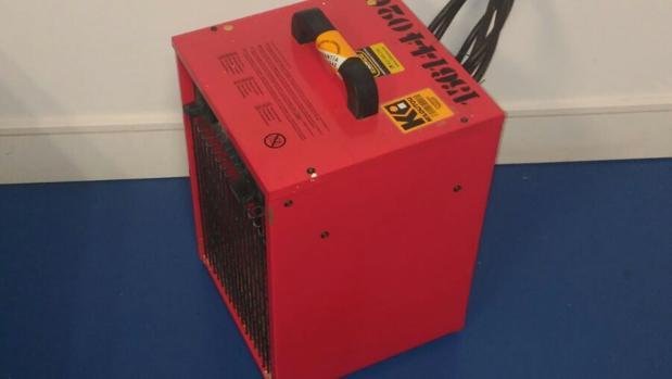 Uno de los calefactores cedidos por la empresa de mantenimiento